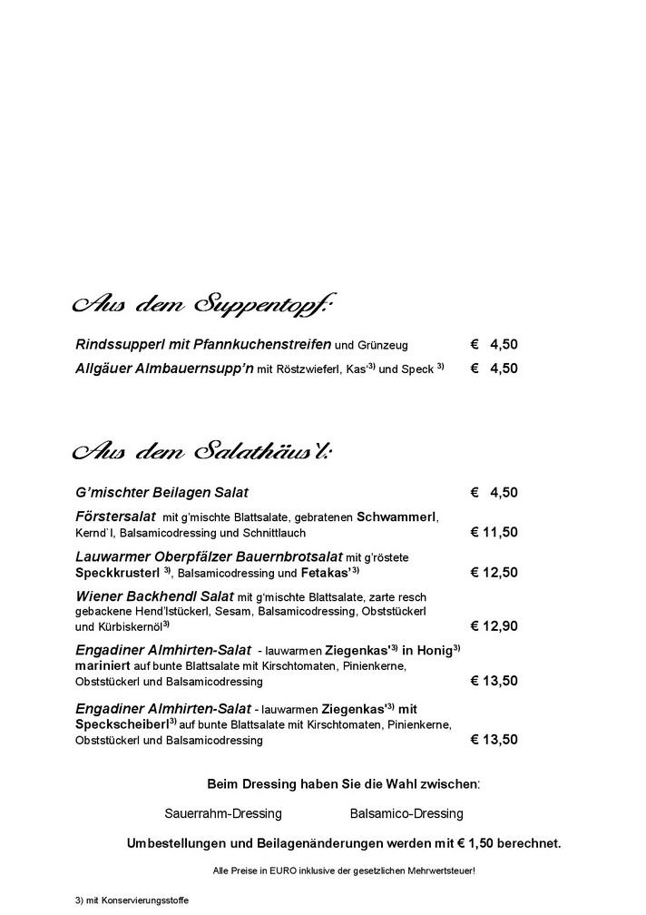 Zum Schmankerlwirt Speisekarte